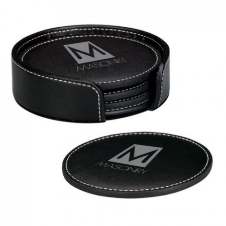 Black Leather Coaster Set with Contrasting Stitching