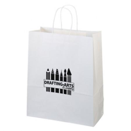 "White Kraft Shopping Bags (13"" x 15.75"" x 6"")"
