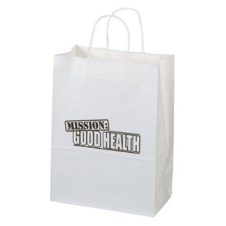 "White Kraft Shopping Bags (10"" x 13"" x 5"")"