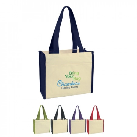 """Canvas Tote with Colored Trim (14"""" x 12"""" x 6"""")"""