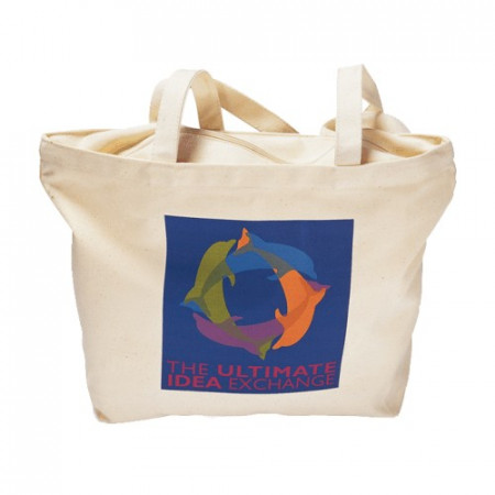 """Zippered Cotton Canvas Tote (18"""" x 13"""" x 5"""")"""