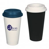 11 oz. Double Wall Ceramic Tumbler with Silicone Lid