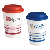 12 oz. Striped Plastic Cups with Plastic Lid