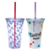 16 oz. Double Wall Acrylic Straw Cups with Insert