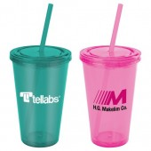 16 oz. Everyday Plastic Cup Tumbler with Straw