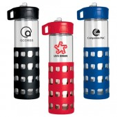 24 oz. Sip-n-Go Glass Water Bottles with Silicone Sleeve