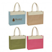 "Jute Tote with Front Pocket (17"" x 14"" x 5.5"")"