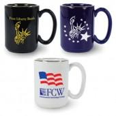 15 oz. USA Made C-Handle Coffee Mugs (Vitrified)