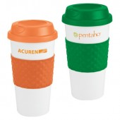 16 oz. Plastic Cups with Lid and Silicone Wrap