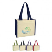 "Canvas Tote with Colored Trim (14"" x 12"" x 6"")"