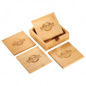 Bamboo Coaster Set with Caddy